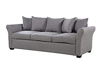 Casa AndreaMilano Classic and Traditional Ultra Comfortable Linen Fabric Sofa - Living Room Fabric Couch