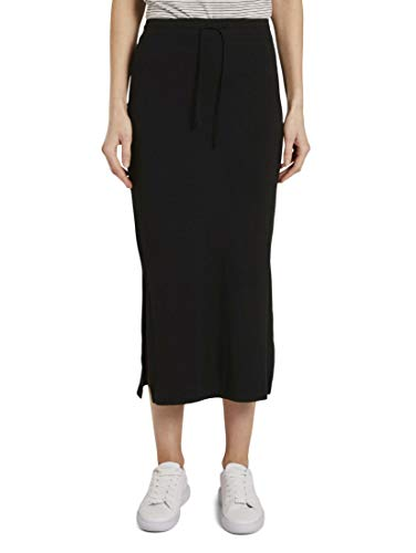 TOM TAILOR Damen Röcke Jersey Maxirock mit Seitenschlitzen Deep Black,40,14482,2999