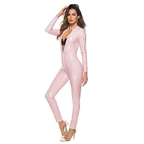 KILLM Sexy Leder Damen Outfit Lingerie Siamesische Lederhose mit Reißverschluss Aus PU-Lackleder,Rosa,M