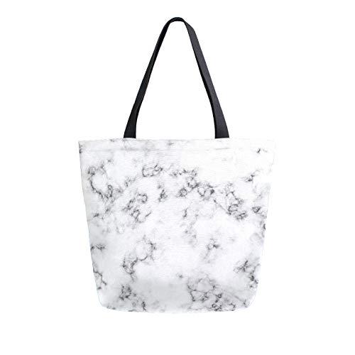JinDoDo - Bolsa de lona reutilizable con fondo de mármol blanco para mujer, para ir de compras, viajes, playa, escuela