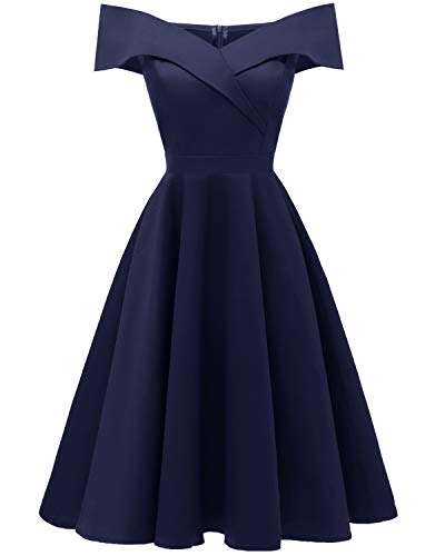 Viloree 50s Rockabilly Damen Kleid Baumwolle Schulterfrei Swing Party festlich Navy S