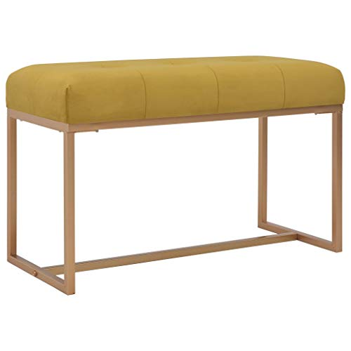 vidaXL Banco Asiento Silla Sillón Taburete Banquillo Mueble Mobiliario de Hogar Salón Cocina Bar Casa Patio 80 cm Terciopelo Mostaza