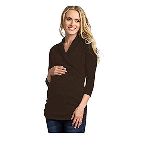 SUCES Damen Schwangerschafts Mutterschafts Einfarbig V-Ausschnitt Pullover Mode Langarm Elegant Mutterschaft Oberteil Dünne Lässige Herbst T-Shirt Frauen Sweatshirt (Kaffee,S)