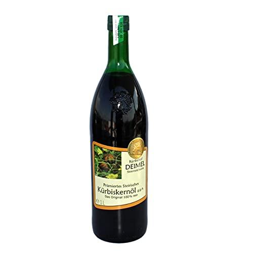 Kürbishof DEIMEL - Olio di semi di zucca originale della Stiria in Austria - Bottiglia da 1 L - Con garanzia di origine - Direttamente dal produttore -Premio annuale