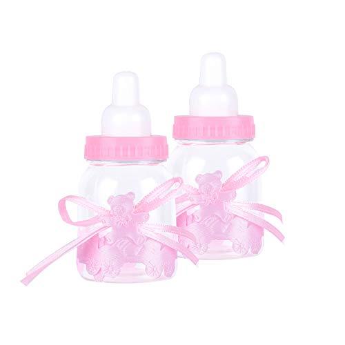 Wolfteeth 24 cajas de Biberón de plástico con lazo de osito, botellas, bomboneras, bomboneras, caja de regalo para nacimiento, bebé, ducha, niño, niña, bautizo, fiesta rosa 789102