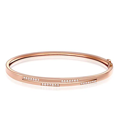 SonMo 18K Armband Mädchen Armreif mit Diamant Echtgold Armreif 18 Karat Schmuck Rosegold