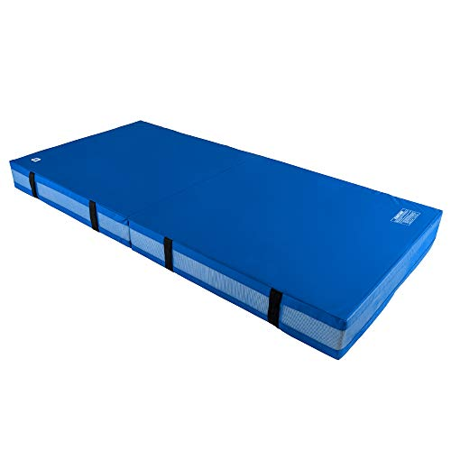 We Sell Mats 8 Inch Thick Bi-Folding Gymnastics Crash Landing Mat Pad, Safety for Tumbling, Back Handspring Training and Cheerleading, 4 ft x 8 ft, Blue