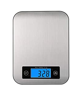 Digital Kitchen Scale, Big Stainless Steel Panel Food Scale Accurate Digital Weight Grams and Ounces, Tare Function, 10kg Capacity Food Weight Scale (B089K1HNJV) | Amazon price tracker / tracking, Amazon price history charts, Amazon price watches, Amazon price drop alerts