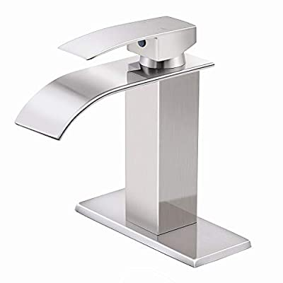 HGN Commercial Single Handle Bathroom Sink Faucet Waterfall Spout Faucet for Bathroom Sink 1 or 3 Hole Brushed Nickel Lavatory Deck Mount Bathroom Faucet AM-003N-DP