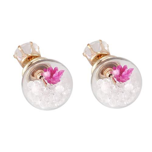 Gesh Pendientes de tuerca para mujer de moda coreana con diseño de bola de cristal de rosa y flor de diamantes de imitación para mujer (blanco)