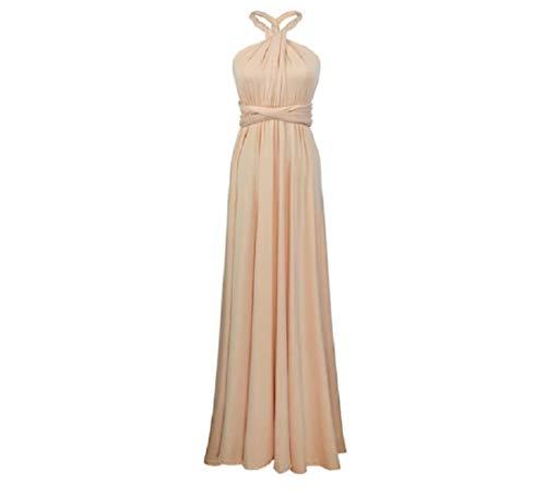 Infinity Kleid inklusive Bandeau Top Brautjungfernkleid Gr. 34-48 viele Farben Wickelkleid lang, 70 Verschiedene Wickelarten Brautkleid, Abendkleid Kleid lang Maxikleid (Beige, 1 (34-42))