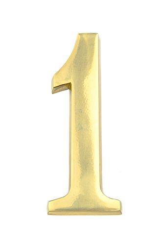 HUBER Hausnummer Nr. 1 Messing glänzend 20 cm, edles dreidimensionales Design