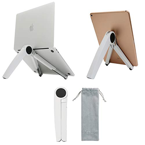 """Gatton Design Portable Laptop & Tablet Stand   Foldable & Adjustable   Ergonomic & Lightweight Aluminum   MacBook, iPad, HP, Dell & More Compatible   Holds up to 15.9"""" Laptops & 12.9"""" Tablets   White"""