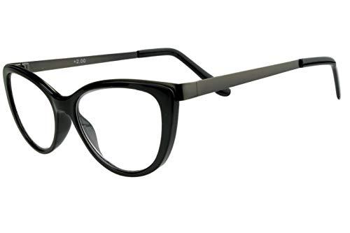 Lesebrillen Damen Schwarz Katzenaugen-Form schmal Retro Design Kunststoff Metall leicht große Gläser mit Etui 1.5 2.0 2.5 3.0 Lesehilfe Sehhilfe Brille, Dioptrien:Dioptrien 2.5