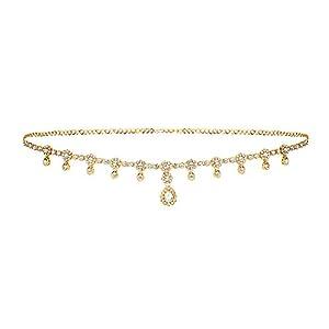 WomenSky Stylish Golden Gold Plated Brass Crystal Ottiyanam Kamarband for Women