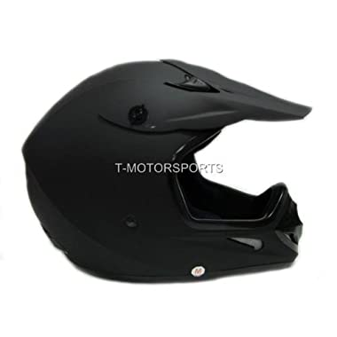 TMS Adult Flat Matte Black Motocross Dirt Bike ATV MX Off-road Helmet DOT (Medium)