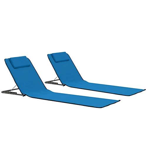 Juego de 2 tumbonas de playa plegables, 2 unidades, para jardín, terraza, camping, playa, piscina, 160 x 53 x 47 cm