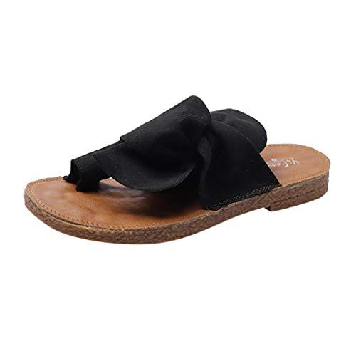 Sandales Plates Femmes -Bluestercool Tongs Bout Ouvert Antidéparant Chaussons d'Intérieur Maison Bureau Plancher Pantoufles Eté Respirant avec Papillon Slippers pour Plage