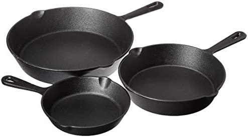 Jim Beam HEA Set of 3 Pre Seasoned Cast Iron Skillets with Even Distribution and Heat Retention product image