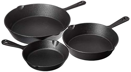 """Jim Beam HEA Set of 3 Pre Seasoned Cast Iron Skillets with Even Distribution and Heat Retention-6"""" 8"""" 10"""", 10'', Black"""