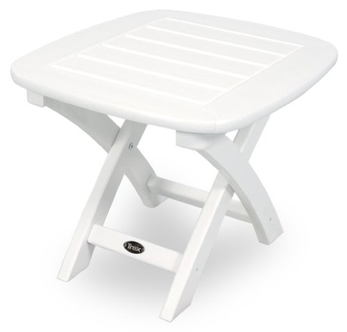 Trex Outdoor Furniture Yacht Club Side Table, 21-Inch by 18-Inch, Classic White