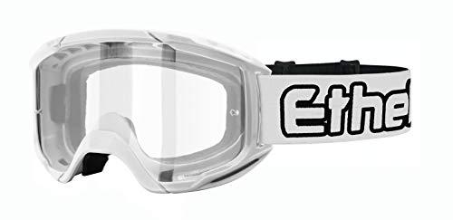 ETHEN Occhiali/Maschera Motocross e Enduro, Lente Cilindrica Specchiata, Clearfog (Antiappannante), in policarbonato con Filtri, Elastico Intercambiabile, Made in Italy, Bianco