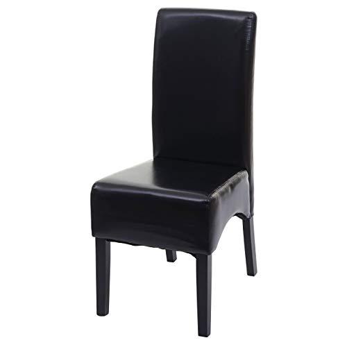 Mendler Esszimmerstuhl Latina, Küchenstuhl Stuhl, Leder - schwarz, dunkle Beine