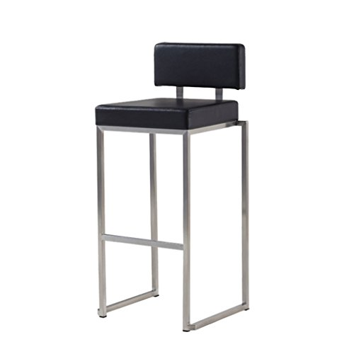 Zaixi Noir Acier Inoxydable Chaise De Bar Minimaliste Moderne Similicuir + Coussin Éponge Chaise Haute Européen Tabourets De Bar Réception avec Dossier Ménage Tabouret Haut 40 * 41 * 98 Cm