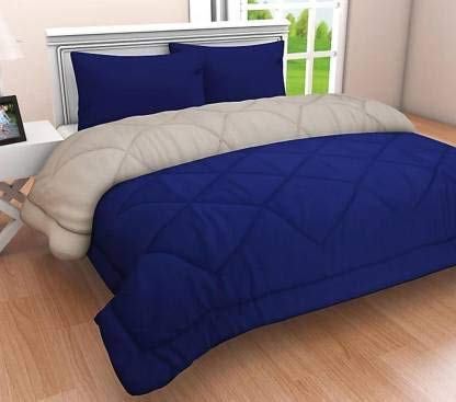 Dhawariya's Solid Ultra Soft Cotton Microfiber Reversible Comforter, Single (Blue& White)