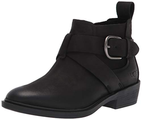 UGG womens Wylma Ankle Boot, Black Leather, 7 US