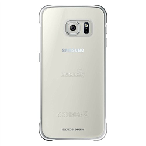 Samsung Slimline Clip-On Hülle Clear View Case Cover für Samsung Galaxy S6, Metallic silber/transparent