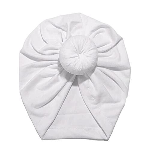 Turbante de bebé recién Nacido para niños, Diademas anudadas para la Cabeza, Sombreros, Gorro de Mezcla de algodón, Gorro para el Cabello, Banda para la Cabeza para niños y niñas-White