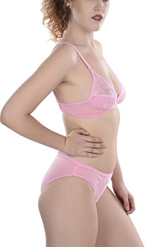 FIMS - Fashion is my style Cotton 1 Bras & 1 Panties Set for Women Bra Panty Set Bra Panty Set for Women with Sexy Undergarments Lingerie Set for Women for Sexy Honeymoon Multicolour Size-34 Pink