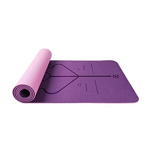 FCREW Yogamatte, TPE Yoga Matte Gymnastikmatte Sportmatte Jogamatte Fitnessmatte rutschfest, Turnmatte für Naturkautschuk Yoga Sport Fitness Pilates mit Tragegurt - 183 x 61 x 0.6 cm (Lila-Pink)
