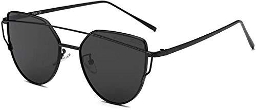 Lentes Planas Espejadas Cat Eye Street Fashion Gafas De Sol Con Montura MetáLica Para Mujer Sj1001-Montura negra C1 / lente gris