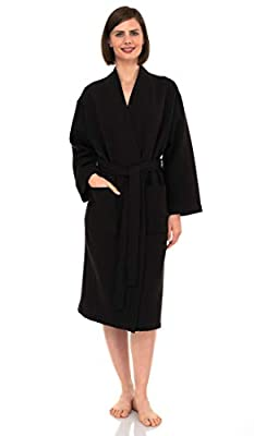 TowelSelections Turkish Bathrobe Waffle Kimono Robe for Women and Men X-Small/Small Jet Black by