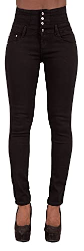 Glook Pantalon Femme Denim Jeans Slim Taille Haute Jean Stretch Pant (40, Noir),L