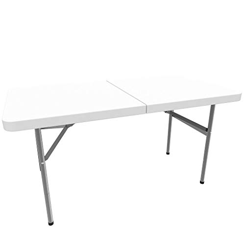 Todeco - Table Pliante Transportable, Table en Plastique Robuste - Matériau: HDPE - Charge maximale: 100 kg - 122 x 61 cm, Blanc, Pliable en Deux