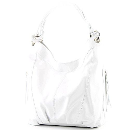 modamoda de - Z18 - ital Damenhandtasche aus Leder/Nappaleder, Farbe:Weiß