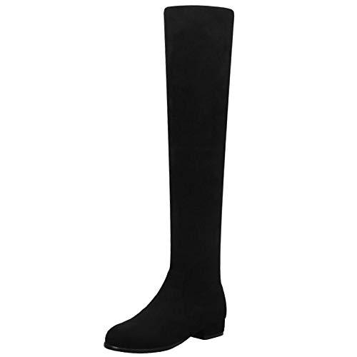 Zanpa Damen Mode Block Niedirg Absatz Overkneestiefel Pull On Slouch Stiefel Overknee Winter Shoes Soft Wildleder Black Gr 44