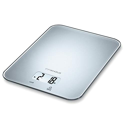 Our Brand - innoHaus AKS19 Multi-Function Kitchen Food Scale, Digital Display with Tare Function, Precise, Measures in g, oz, lb:oz, ml, fl.oz with Auto-Off, Silver