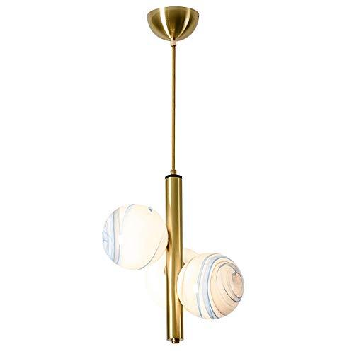 Diseño de 3 focos, lámpara colgante de cristal, pantalla de lámpara moderna, inusual, lámpara colgante de altura ajustable, personalidad creativa, lámpara de techo para interior o salón