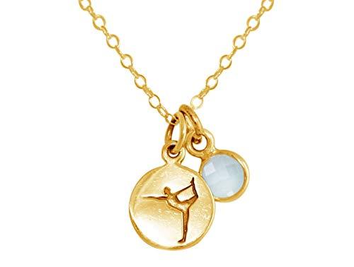 Gemshine YOGA Halskette aus 925 Silber, vergoldet oder rose. 1,5 cm Yoga Dancer Tänzer Anhänger mit meeresgrünem Chalcedon. Made in Madrid/Spanien, Metall Farbe:Silber vergoldet
