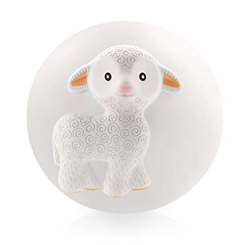 Pure Natural Rubber Teether Sensory Ball Toy – Mia The Lamb - Sealed Hole, Textured for Teething and Sensory Play, Perfect Bouncer, BPA Free, PVC Free, Hole Free Teething Ball for Baby, Easy to Clean