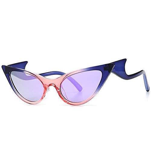 SHENY Gafas De Sol De Gran Tamaño con Ojo De Gato para Mujer, Personalidad, Onda, Pierna, Gafas De Sol, Mujer, Tendencia Elegante, Espejo, Gafas Purpura Rosa Azul