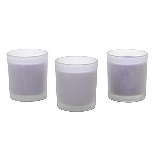 aromathérapie Hosley Lavande très parfumée, Lot de 3 grandes bougies garni de verre givré, jusqu'à 72 heures de combustion chaque, parfait Cadeau pour Mariage, fête, SPA.