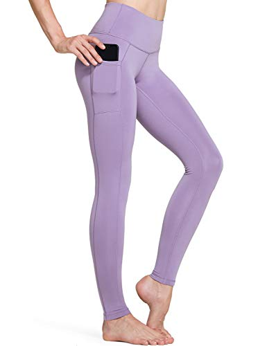 TSLA High Waist Yoga Pants with Pockets, Tummy Control Yoga Leggings, Non See-Through 4 Way Stretch Workout Running Tights, Ankle Aerisupport (Fgp54) - Lavender, Small
