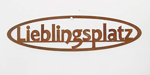 EllasDekokrempel Schild Lieblingsplatz in Edelrost 10cm x50cm