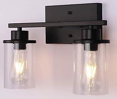 ALINhome 2-Lights Bathroom Black Vanity Light | Matte Black Wall Sconce Vintage with Clear Glass Shade, Hallway Light Fixture Sconces Wall Lighting