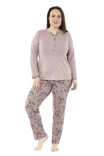 Mabel Intima Pijama Talla Grande Mujer Pijama Manga Larga y pantalón Largo. Marrón Claro y Estampado pantalón con Hojas. Talla 70. 95% poliéster-5% Spandex.